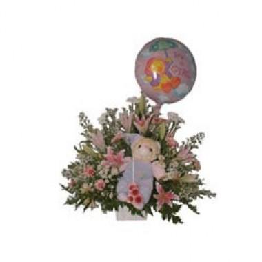 Canasta De Recien Nacido.Tierna Canasta Para Recien Nacido De Flores Variadas